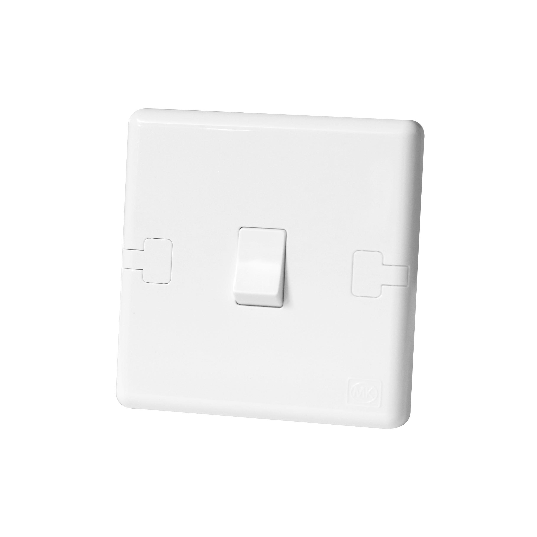 Light Switch Single Gang 1 Way 1 Gang 1G 10AX White Plastic Wall Switch